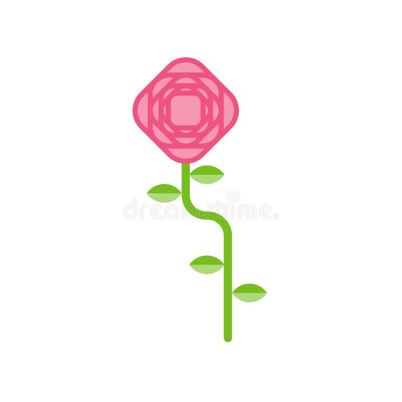Rose isolated. Pink flower on white background. Vector illustration vector illustration