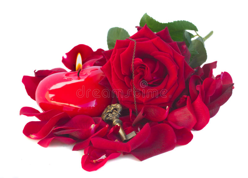 Rose, key and heart stock photography