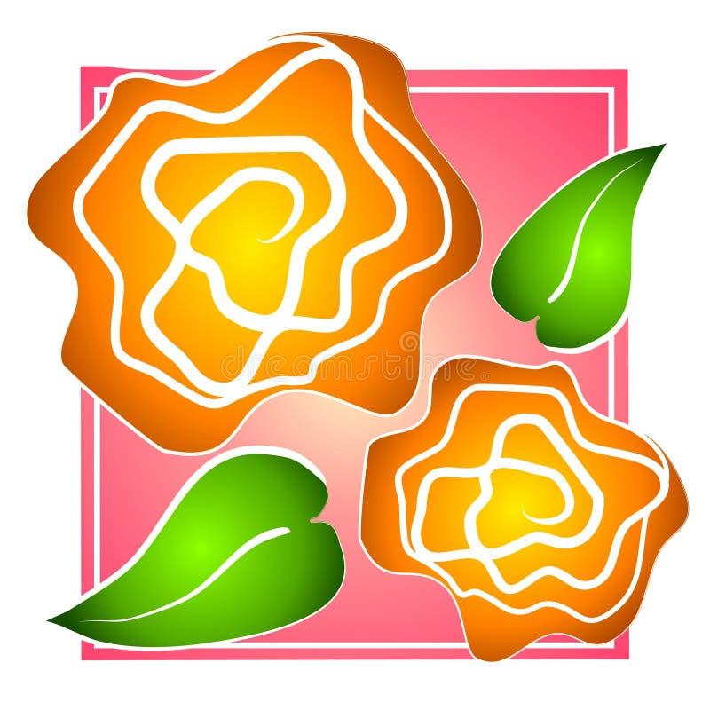 Rose Klipp Art Yellow auf Rosa lizenzfreie stockfotos