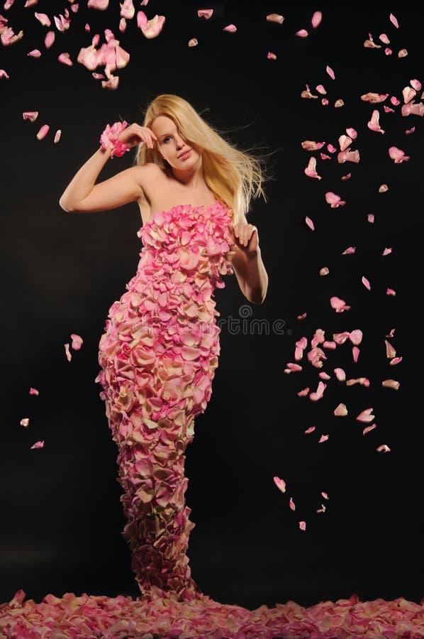 rose kvinna för härliga klänningpetals royaltyfria foton