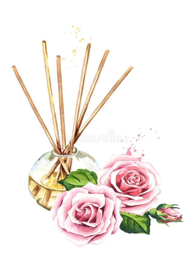 Rose l?quida en una botella de cristal con palillos y una flor ambientador ejemplo dibujado mano de la acuarela, aislado en blanc libre illustration