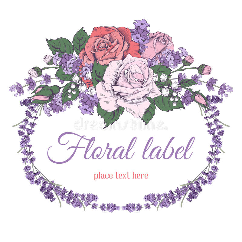 Rose and lavender. Vintage luxury greeting card with detailed hand drawn flowers - blooming rose and lavender. on white background. Space for your text. Vector royalty free illustration