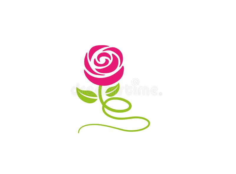 Rose with leaves and long leg flower for logo. Esign illustration vector illustration