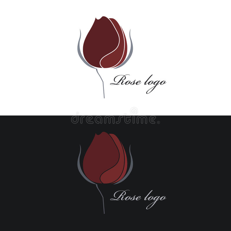 Free Rose Logo. Vector Clipart. White And Black Background. Stock Photos - 92256163