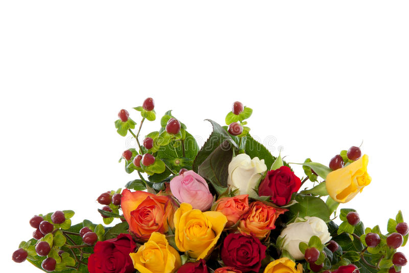 Rose mixed variopinte del mazzo fotografie stock
