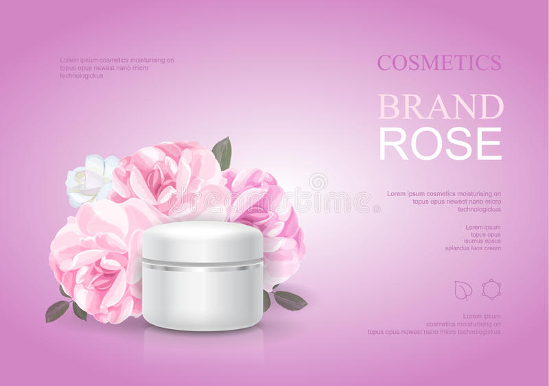 Rose moisturizing cream template, skin care ads. Pink beauty cosmetic product poster vector illustration stock illustration