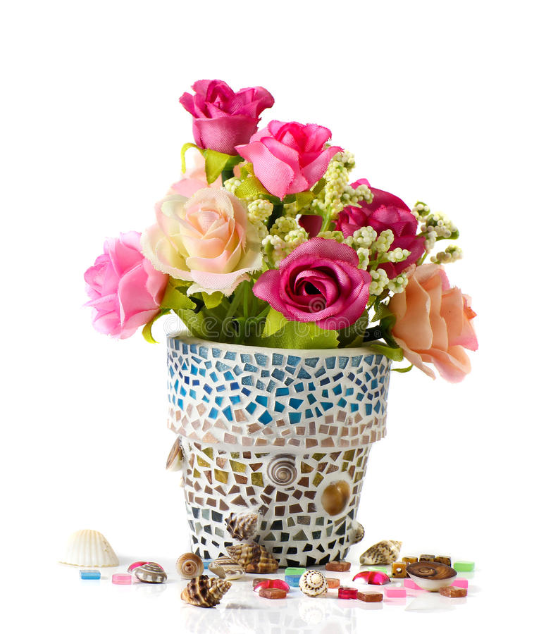 Download Rose and mosaic flower pot stock photo. Image of flora - 28454226
