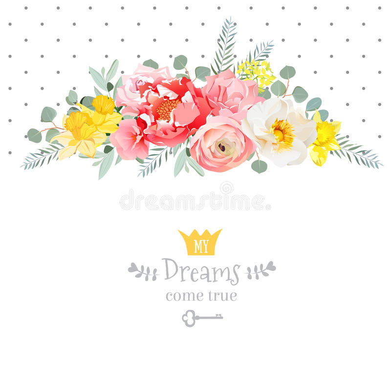 Rose, narcissus, pink flowers, ranunculus and decorative eucaliptus leaves vector design card. stock illustration