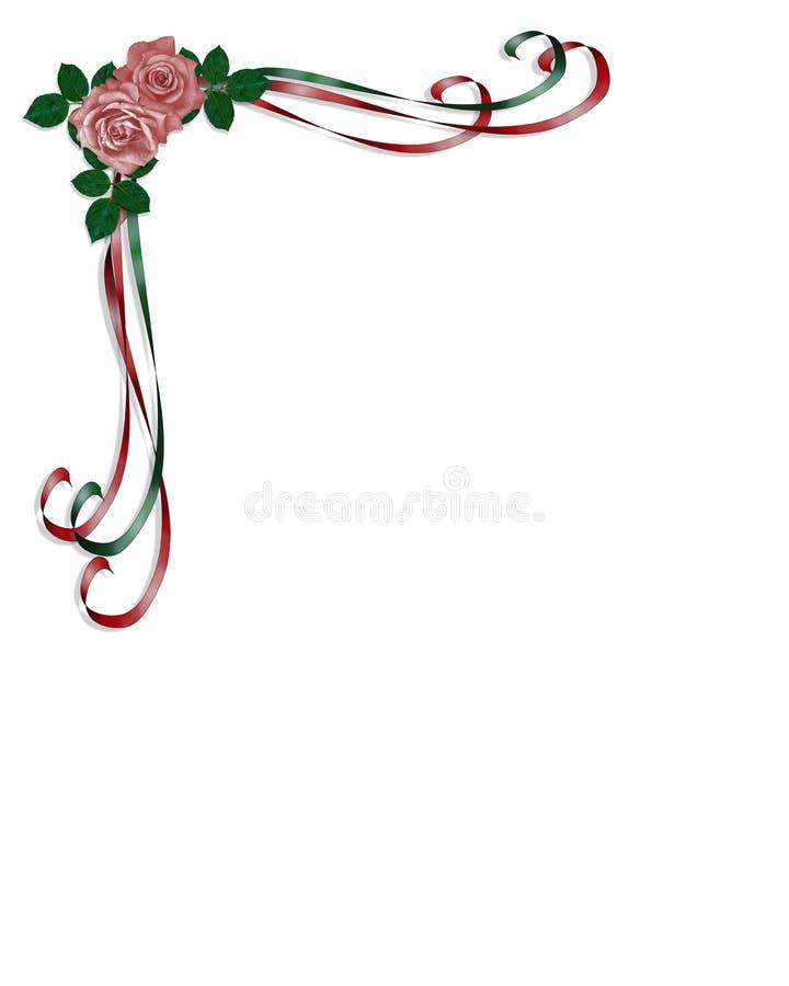 Rose, nastri Wedding invito illustrazione vettoriale