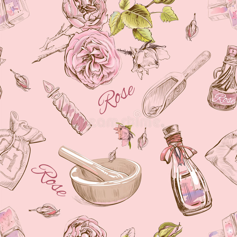 Rose natural cosmetic seamless pattern. royalty free illustration