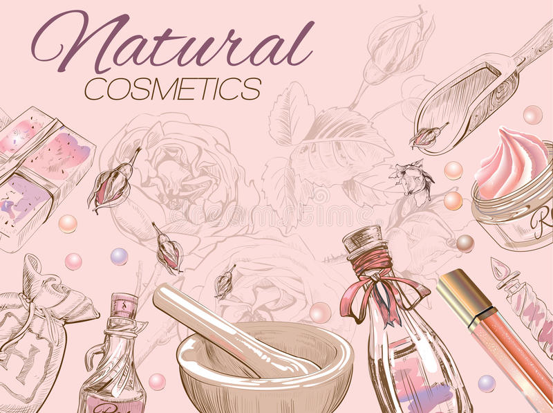 Rose natural cosmetic template. vector illustration