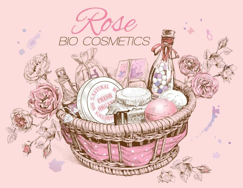 Rose natural cosmetics basket. vector illustration