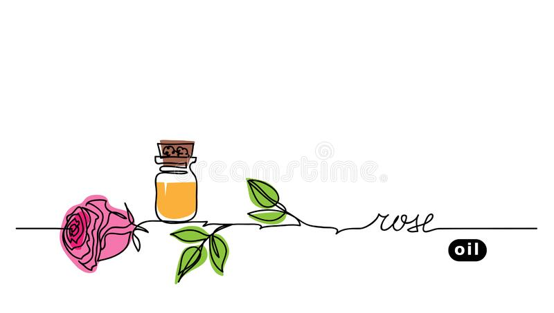 Rose oil in bottle. Simple vector banner. One continuous line drawing, background, illustration with lettering. Rose royalty free illustration