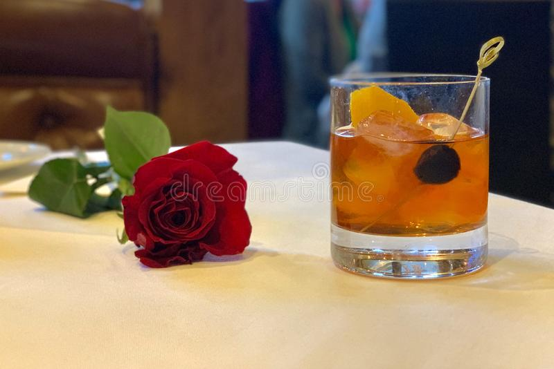 Rose and Old Fashioned stock photography