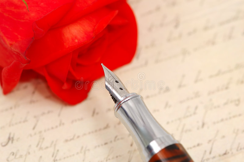 rose and old letter stock photography