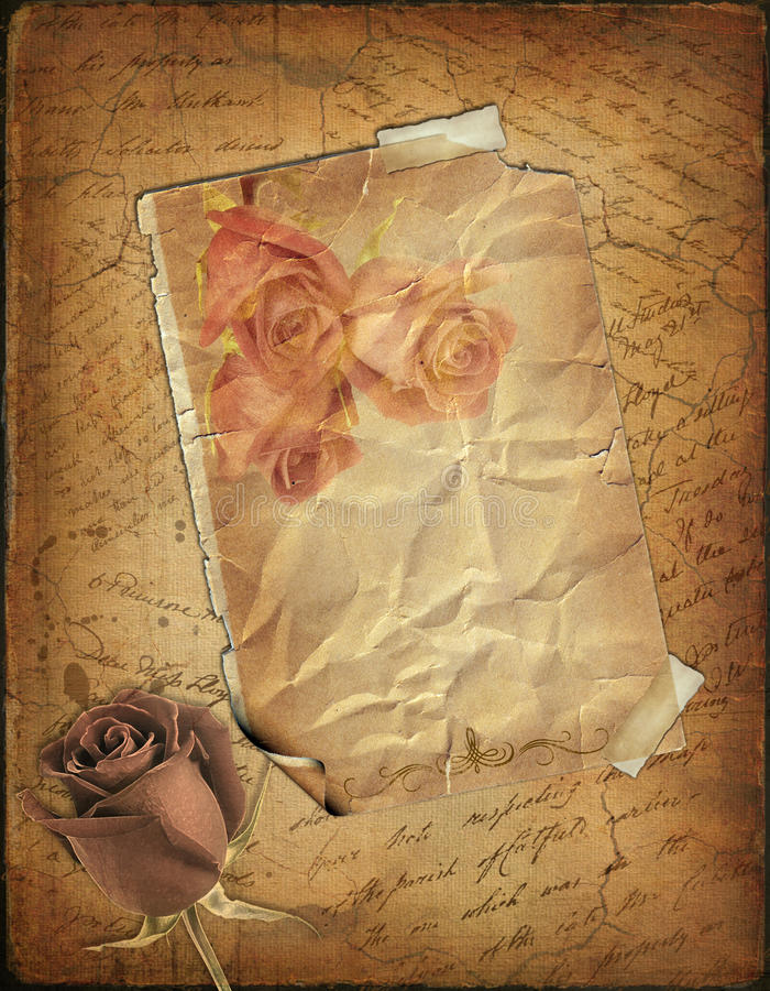 Rose and old paper with the hand-written text royalty free stock image