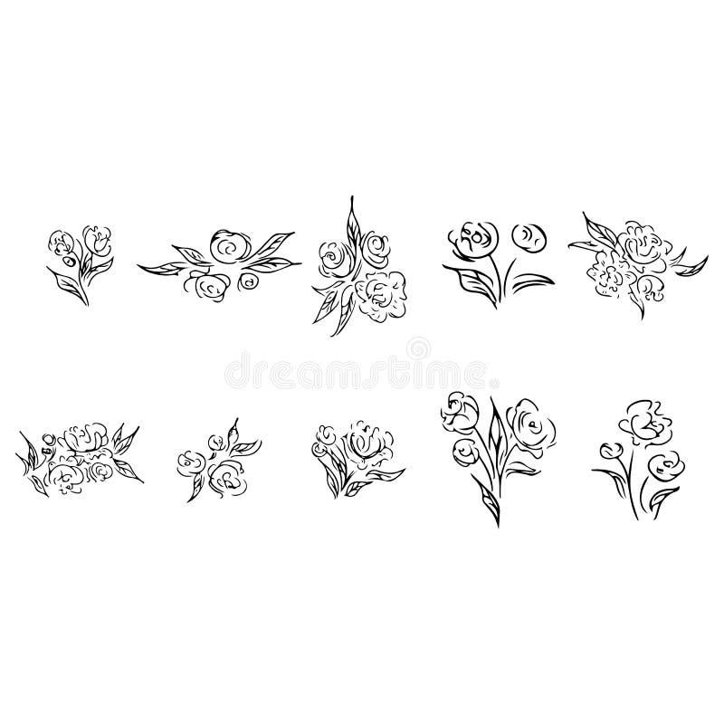 Rose outline set in line art style. Vector nature illustration. Vintage background. Black background. Floral design element. royalty free illustration