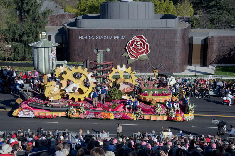 Rose Parade and Norton Simon Museum. A float in the Rose Parade in front of the Norton Simon Museum in Pasadena, California royalty free stock photo