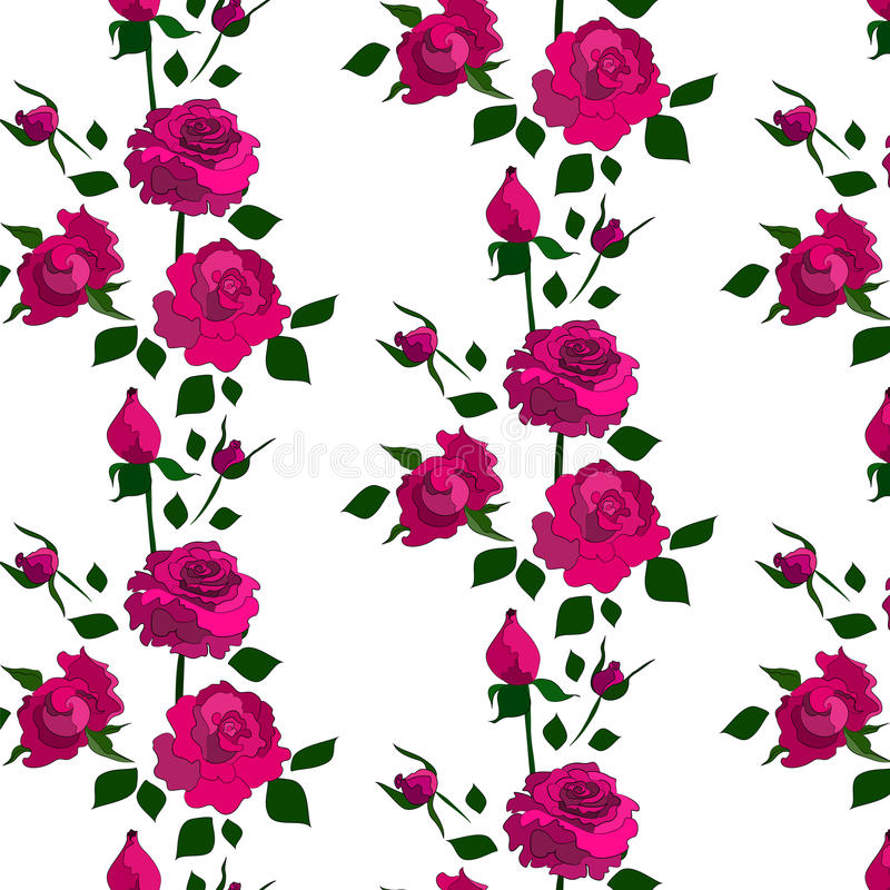 Rose pattern. Including seamless sample in swatch panel (Illustrator royalty free illustration