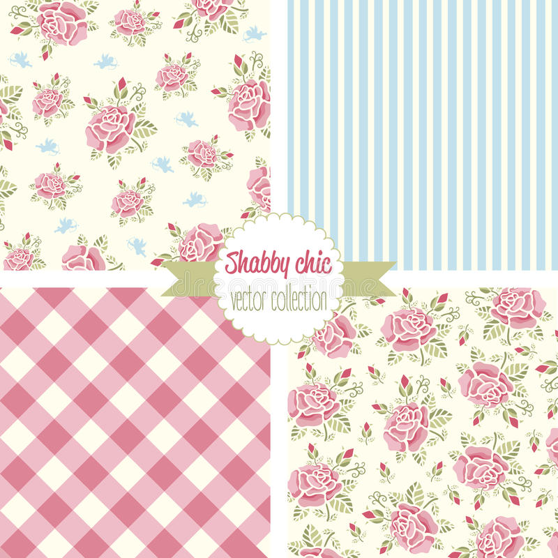 Rose Patterns chique gasto Teste padrão sem emenda ajustado Teste padrão floral do vintage, fundos ilustração do vetor