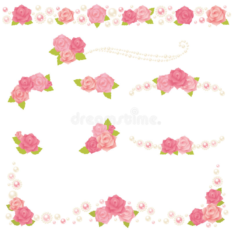 Rose pearl frame. Set of decorative roses and pearls royalty free illustration