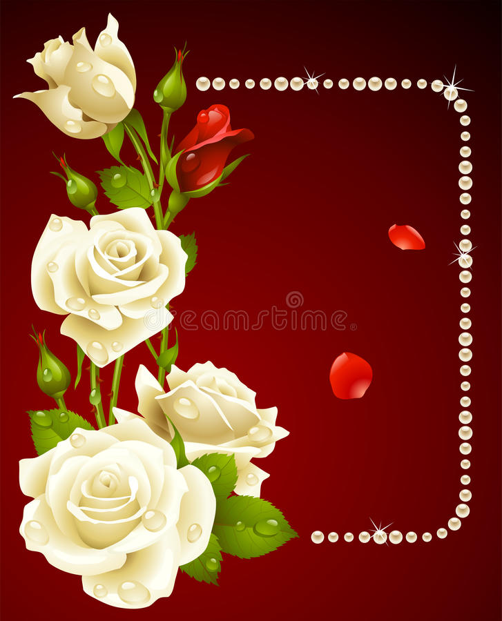 Rose And Pearls Frame Stock Images