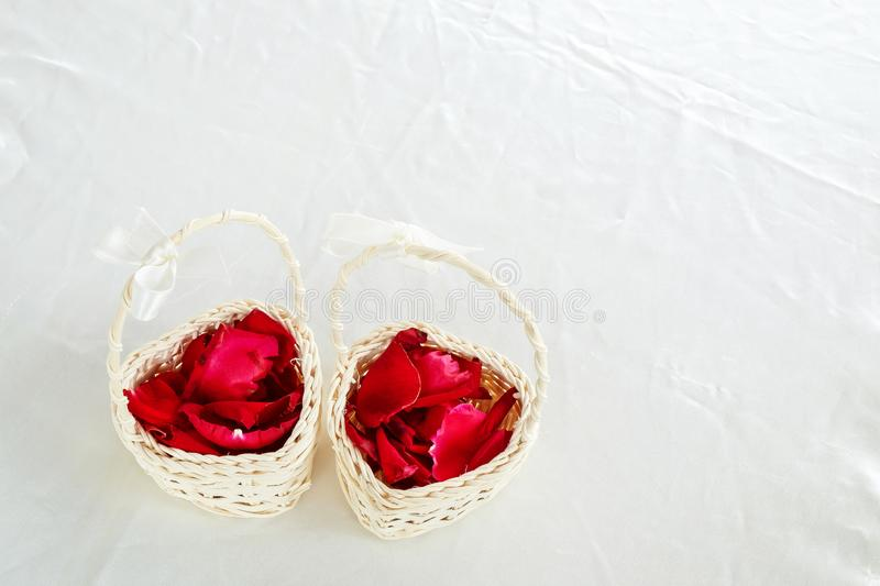 Rose Pedals in a Mini Basket for Wedding Ceremony royalty free stock image