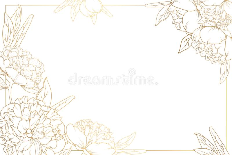 Rose peony border frame decorated corners golden stock illustration