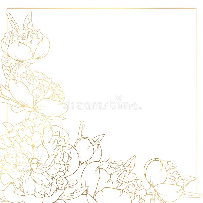 Rose peony flowers border frame corner bright gold royalty free illustration
