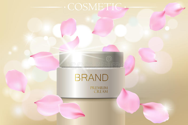 Rose petal flower extract cosmetic ads template, realistic 3D illustration skincare moisturizing mockup elegant glow stock illustration