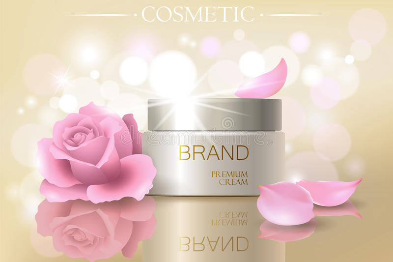 Rose petal flower extract cosmetic ads template, realistic 3D illustration skincare moisturizing mockup elegant glow. Bokeh background vector illustration