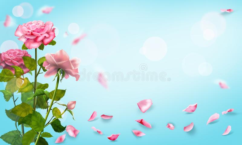 Rose petals falling romance background. Watercolor illustration. Roses and pink petals watercolor illustration. Light frame blank page, pink roses flowers bokeh stock illustration