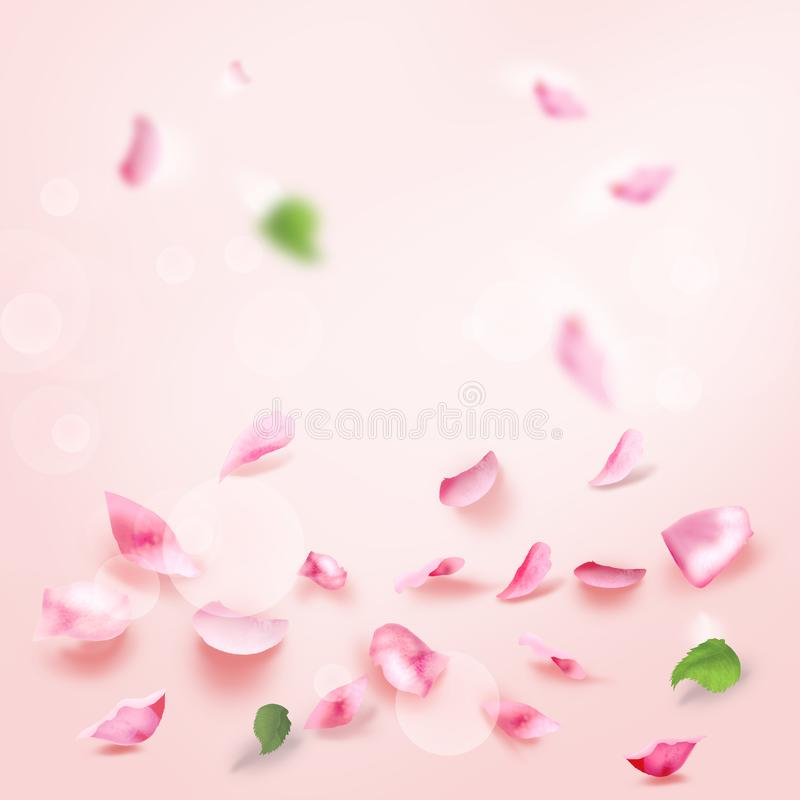 Rose and pink petals falling romance bridal blank page watercolor illustration. Roses and pink flying watercolor background. Pink Petals Light frame blank page royalty free illustration