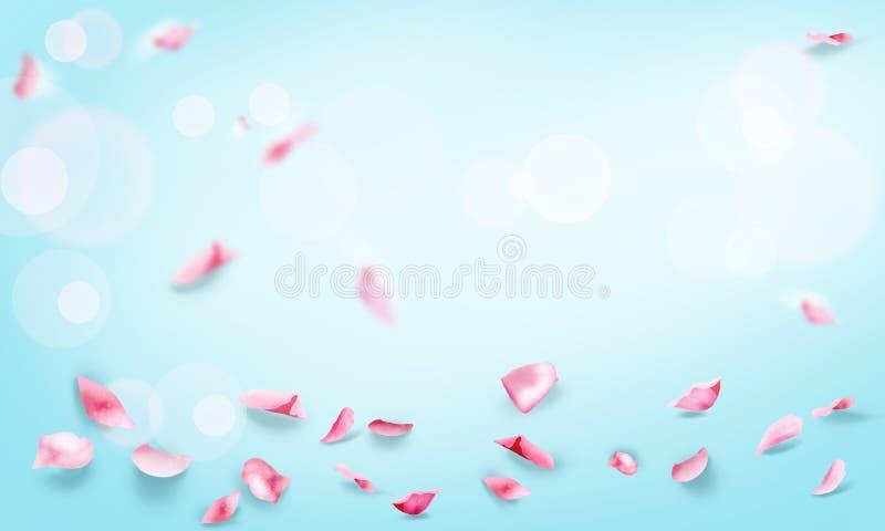 Rose petals fly romance wallpaper vector illustration