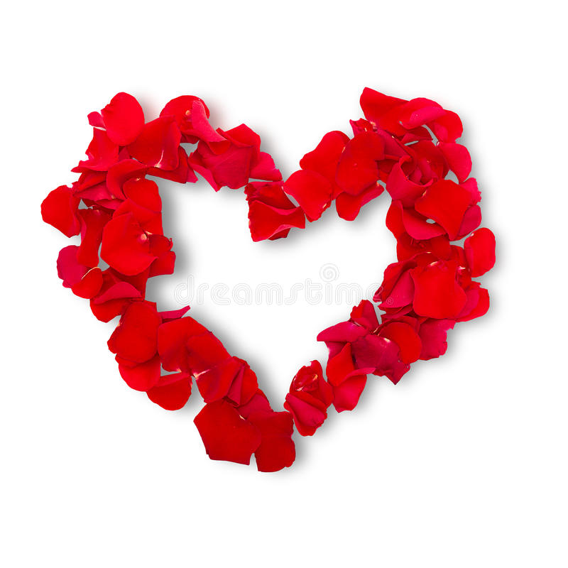 Rose petals in heart shape. Valentine greeting stock image