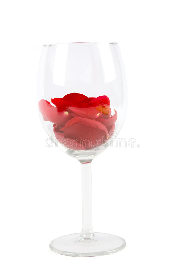 Rose petals in a wine glass stock photos