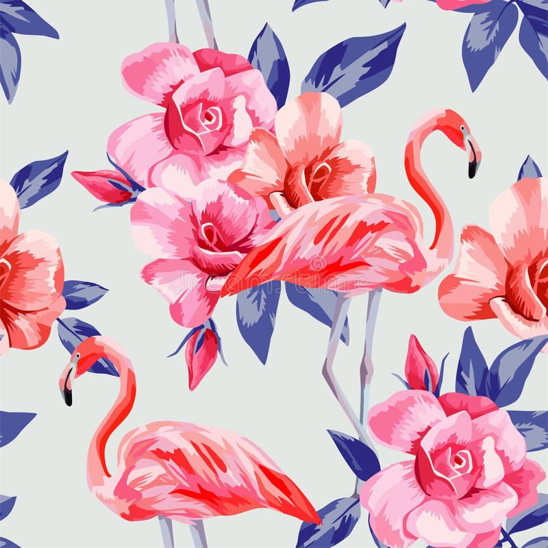 Rose and pink flamingos stock illustration