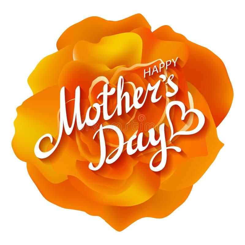 rose pomarańczy Szczęśliwa matka dnia pomarańcze Piękna Kwitnąca róża Kwitnie EPS 10 wektor ilustracja wektor