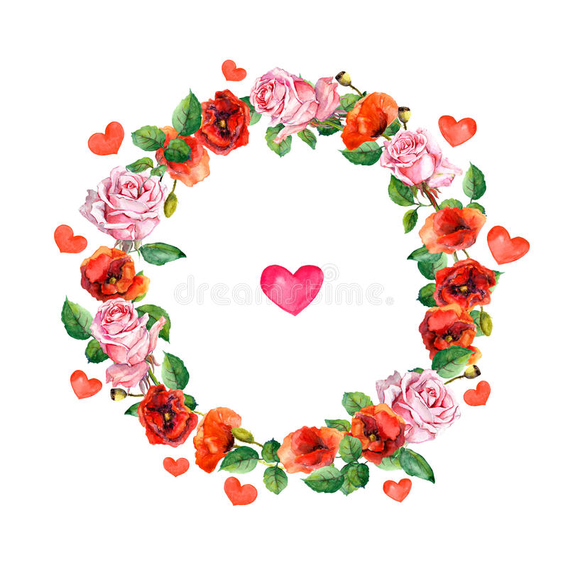 Rose and poppy flowers with heart in floral wreath. Watercolour circle border for wedding or Valentine day greeting card. Rose and poppy flowers. Floral wreath royalty free illustration