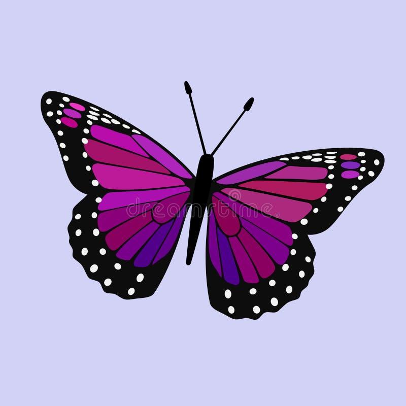 Rose, pourpre et Violet Winged Monarch - vecteur de papillon illustration libre de droits