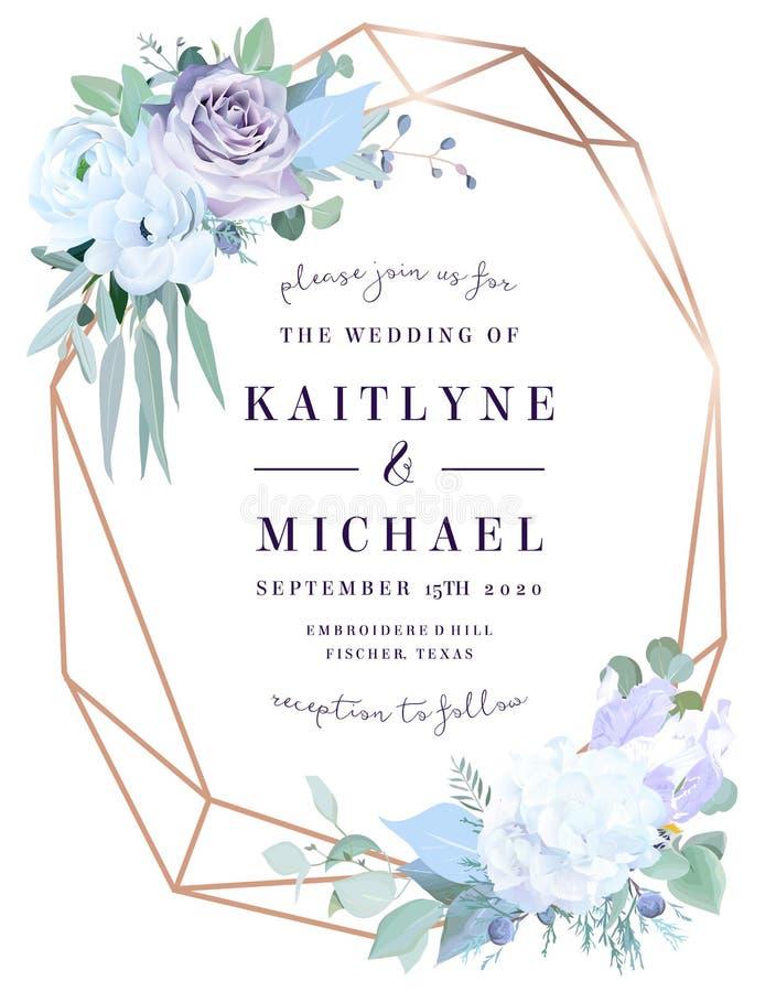 Rose poussiéreuse de lavande, hortensia blanc, anémone, eucalyptus illustration stock