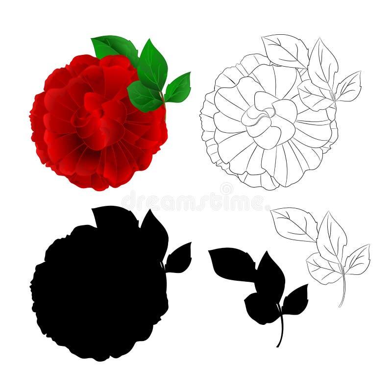 Rose Purple-natuurlijke bloem en bladeren en silhouet en overzichtsvector vector illustratie