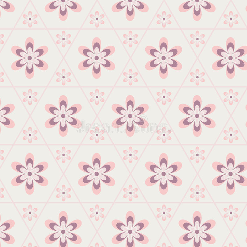 Rose Quartz-bloem in hexagon naadloos patroon royalty-vrije illustratie