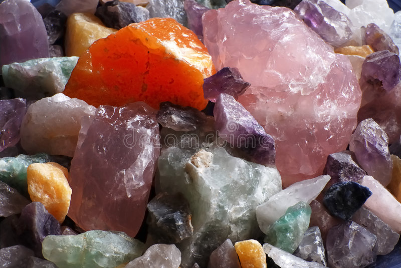 Rose quartz and other crystals royalty free stock photography