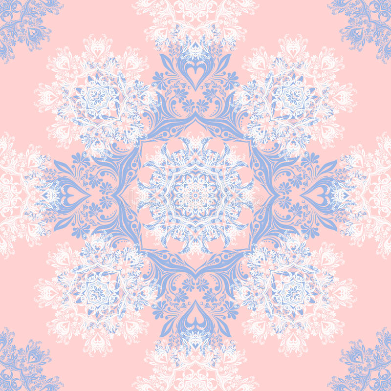 Rose Quartz and Serenity trendy colors of the year 2016 in the seamless pattern. Zentangle or doodle style ornament with mandalas and floral elements. For stock illustration