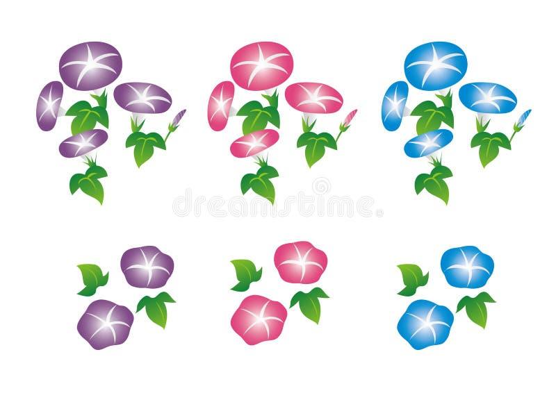 Rose réglé d'illustration de gloire de matin, bleu, violet photographie stock libre de droits
