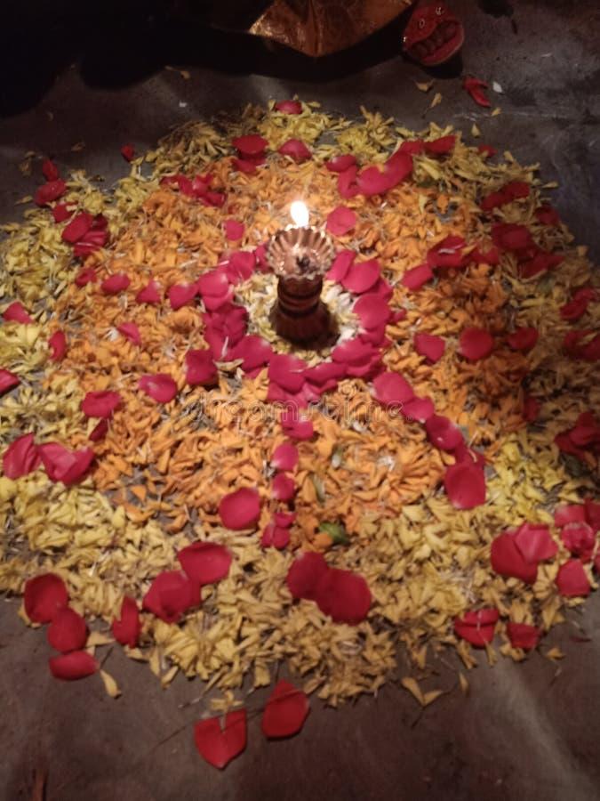 Rose rangoli in Indian festival stock image