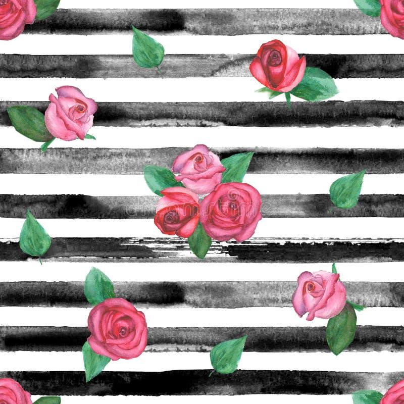 Rose rayó el modelo inconsútil libre illustration