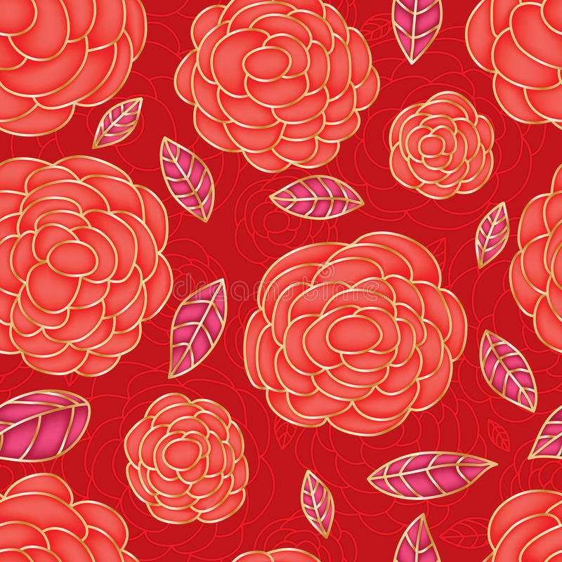 Rose red drawing color bright seamless pattern stock illustration