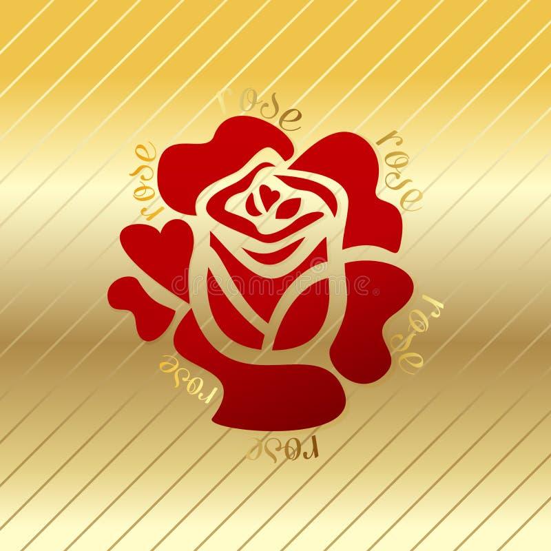Rose red flower vector on a gold background. vector illustration